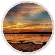 Burning Sky Round Beach Towel by Doug Long