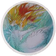 Round Beach Towel featuring the drawing Burning Thoughts by Marat Essex