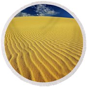 Burning Up At The White Sand Dunes - Mui Ne, Vietnam, Southeast Asia Round Beach Towel