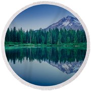 Burnt Lake Reflection Round Beach Towel