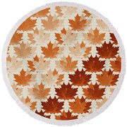Burnt Sienna Autumn Leaves Round Beach Towel by Methune Hively