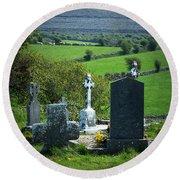 Burren Crosses County Clare Ireland Round Beach Towel