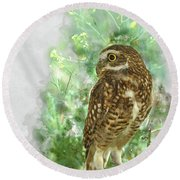 Burrowing Owl In Profile Round Beach Towel