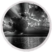 Burst Of Clouds In B And W Round Beach Towel