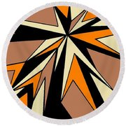 Burst Of Orange 2 Round Beach Towel by Linda Velasquez