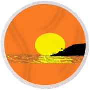 Burst Of Yellow Round Beach Towel by Linda Velasquez