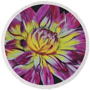 Bursting Bloom Round Beach Towel