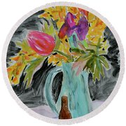 Round Beach Towel featuring the painting Bursting Bouquet by Beverley Harper Tinsley