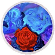 Bursting Rose Round Beach Towel by Jenny Lee