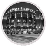 Busch Stadium St Louis Black And White  Round Beach Towel
