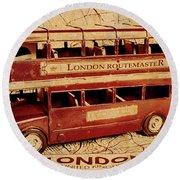 Buses Of Vintage England Round Beach Towel