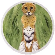 Round Beach Towel featuring the painting Bush Cat by Jamie Frier