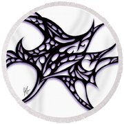 Round Beach Towel featuring the drawing Bushal A Thorns Purple by Jamie Lynn