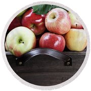 Bushel Of Apples  Round Beach Towel by Stephanie Frey
