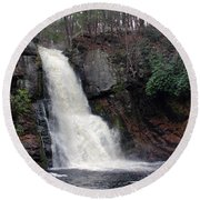 Round Beach Towel featuring the photograph Bushkill Falls by Linda Sannuti