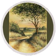 Round Beach Towel featuring the drawing Bushveld by Heidi Kriel
