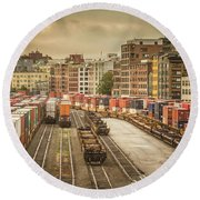 Busines End Of The City... Round Beach Towel
