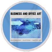 Business And Office Art Collection Round Beach Towel by Modern Art Prints