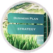 Business And Success Concept Round Beach Towel