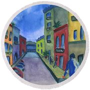 Business In Old San Juan Round Beach Towel by Frank Bright