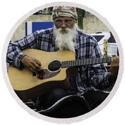 Busking In New Orleans, Louisiana Round Beach Towel