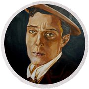 Buster Keaton Tribute Round Beach Towel by Bryan Bustard