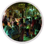 Round Beach Towel featuring the photograph Busy Chennai India Flower Market by Mike Reid
