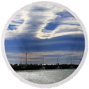 Round Beach Towel featuring the photograph Busy Day At The Wharf by Nareeta Martin