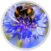 Busy Little Bee Round Beach Towel