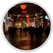 Round Beach Towel featuring the photograph Busy Shoppers by Inge Riis McDonald