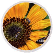 Busy Sunflower Round Beach Towel