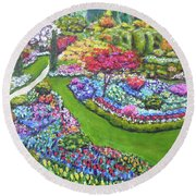 Round Beach Towel featuring the painting Butchart Gardens by Amelie Simmons
