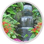 Butchart Gardens Waterfall Round Beach Towel by Wendy McKennon