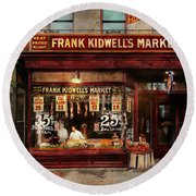 Round Beach Towel featuring the photograph Butcher - Meat Priced Right 1916 by Mike Savad