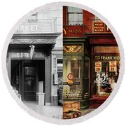 Round Beach Towel featuring the photograph Butcher - Meat Priced Right 1916 - Side By Side by Mike Savad