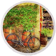 Round Beach Towel featuring the photograph Butcher Shop Bicycle by Craig J Satterlee