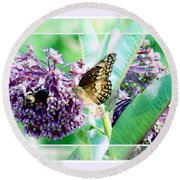 Butterflies In The Field Round Beach Towel by Shirley Moravec
