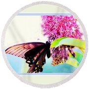 Butterfly Business Round Beach Towel by Shirley Moravec