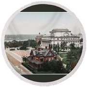Butler Library At Columbia University Round Beach Towel