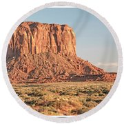 Round Beach Towel featuring the photograph Butte, Monument Valley, Utah by A Gurmankin