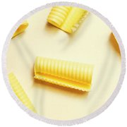 Butter Curls On White Background Round Beach Towel