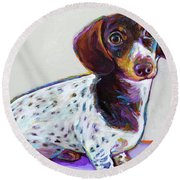 Round Beach Towel featuring the painting Buttercup by Robert Phelps