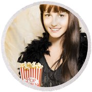 Buttered Popcorn At Showtime Round Beach Towel