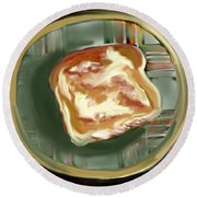Buttered Toast Round Beach Towel