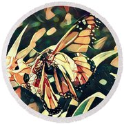 Round Beach Towel featuring the digital art Butterfies In Love Abstract by David Mckinney