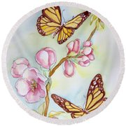Butterflies And Apple Blossoms Round Beach Towel by Inese Poga