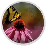 Butterflies And Cone Sflowers Round Beach Towel