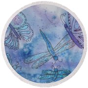 Round Beach Towel featuring the painting Butterflies And Dragonflies by Ellen Levinson