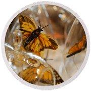 Butterflies And Glass II Round Beach Towel