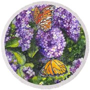 Butterflies And Lilacs Round Beach Towel by Carol Wisniewski